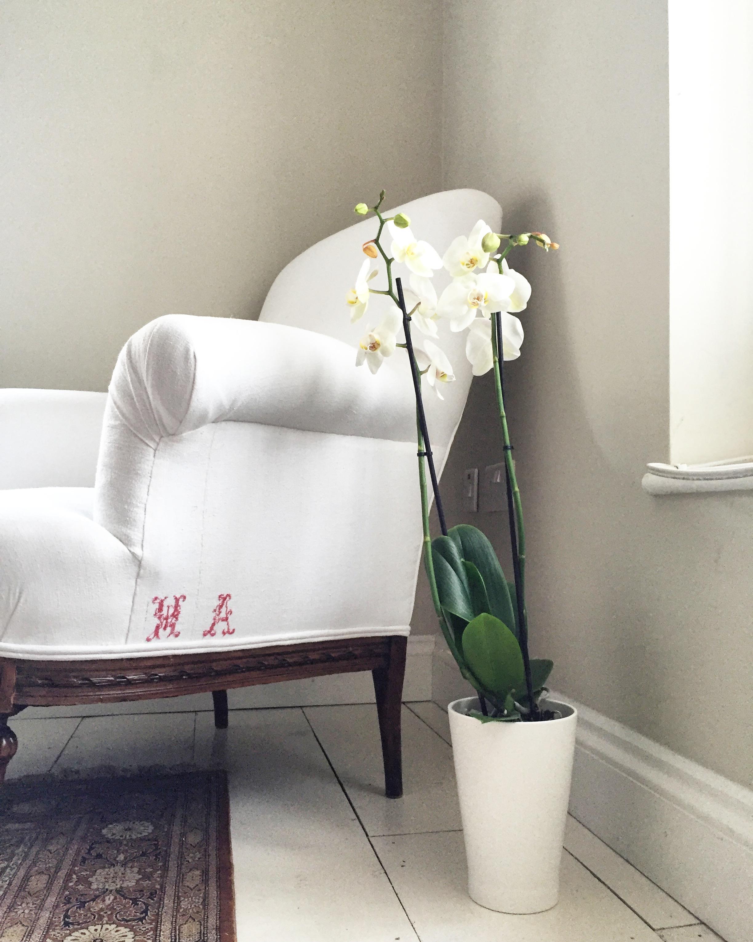 Residential: Bespoke Monogrammed French linen chair.
