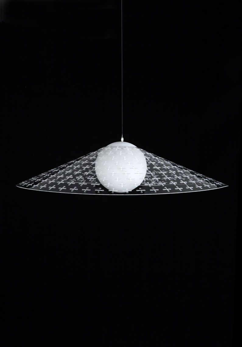 Gorgete Lampshade  Stefano Citi A single sheet perforated with hundreds of little cuts, allows the user to bend and fold piece into a number of different shaped lamp shades. The user fixes the shape using earing type clips. A garment for the naked light.