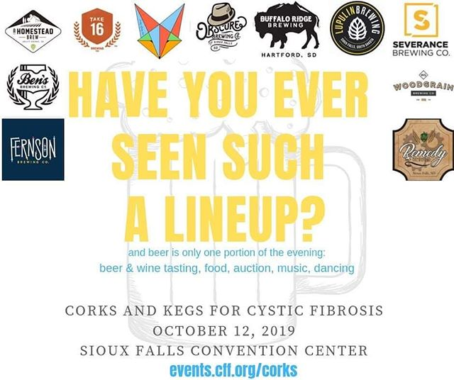 Great Breweries, Great Beers, Great Cause! Hope to see you all there! Beer and wine tasting, food, auction, music... Get your tickets at events.cff.org/corks  @bensbrewing @buffalo.ridge.brewing @covertartisanales @fernson @a_homestead_brew @lupulin_brewing @obscurebrewing @remedybrewcosf @severancebrewing @take16beer @woodgrainbrew