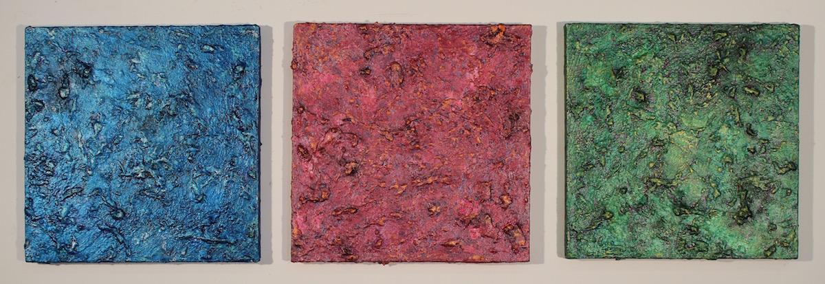 """Meditation on Planet Earth , triptych, acrylic, oil, Rhoplex on canvas, 10"""" x 34"""""""
