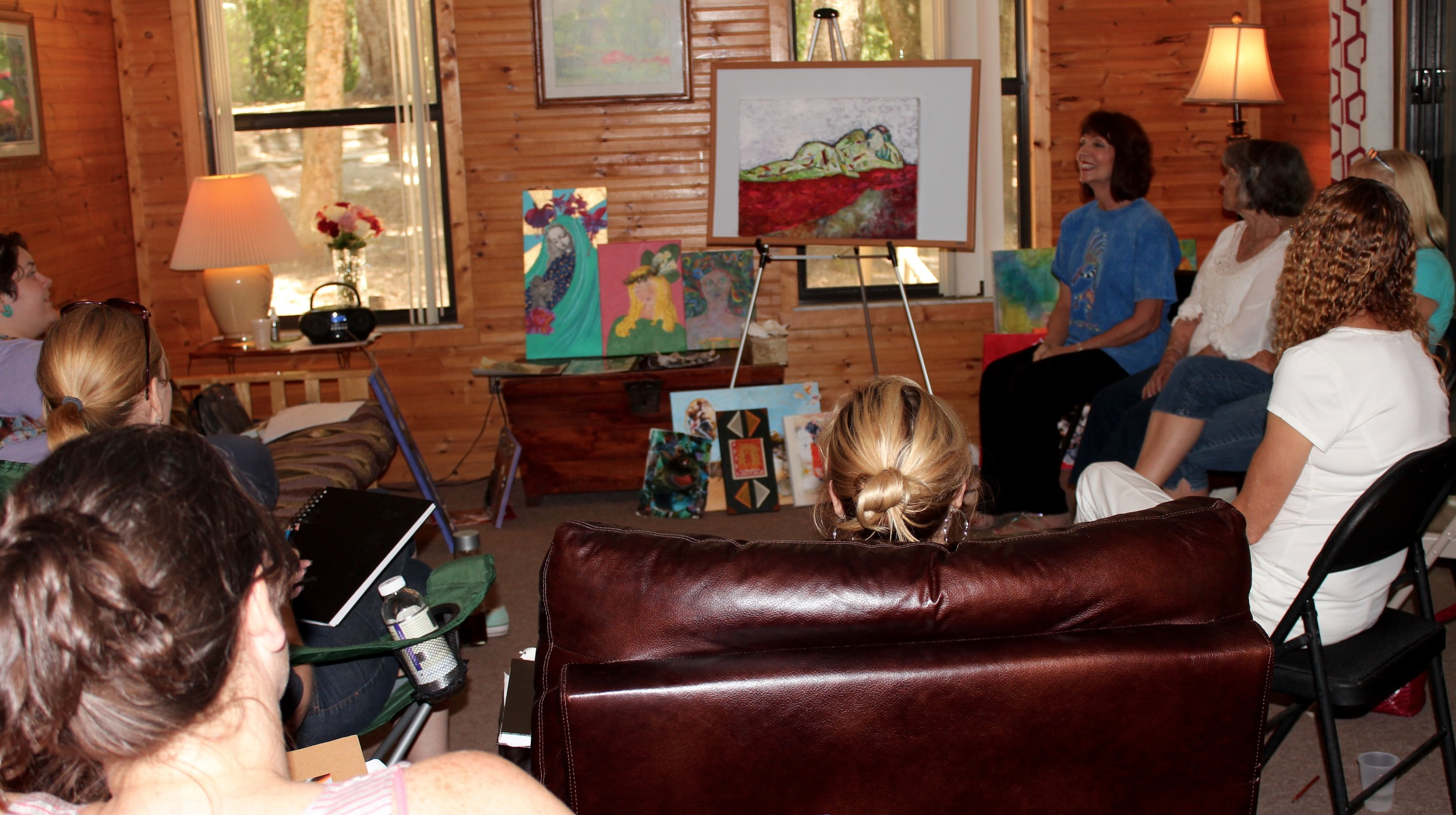 Participating in a critique at a recent retreat at Rainbow Rivers Center, led by Linn Sennott and me.