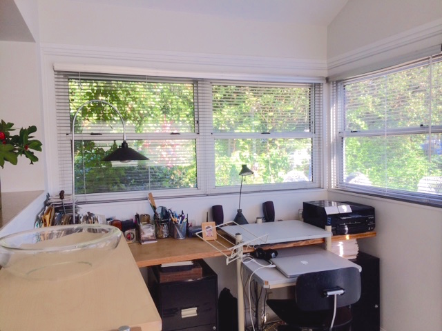 Photographs of my newly renovated home office. Paper-free desk. Yeah!