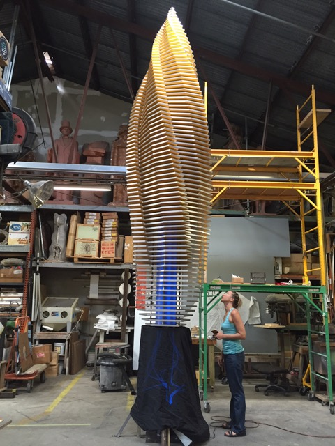 "We finished the preliminary assembly of the ""Budding Vortex"" and had it on display during ArtWalk.  Now it has been disassembled and the primary support is off to be powder coated."