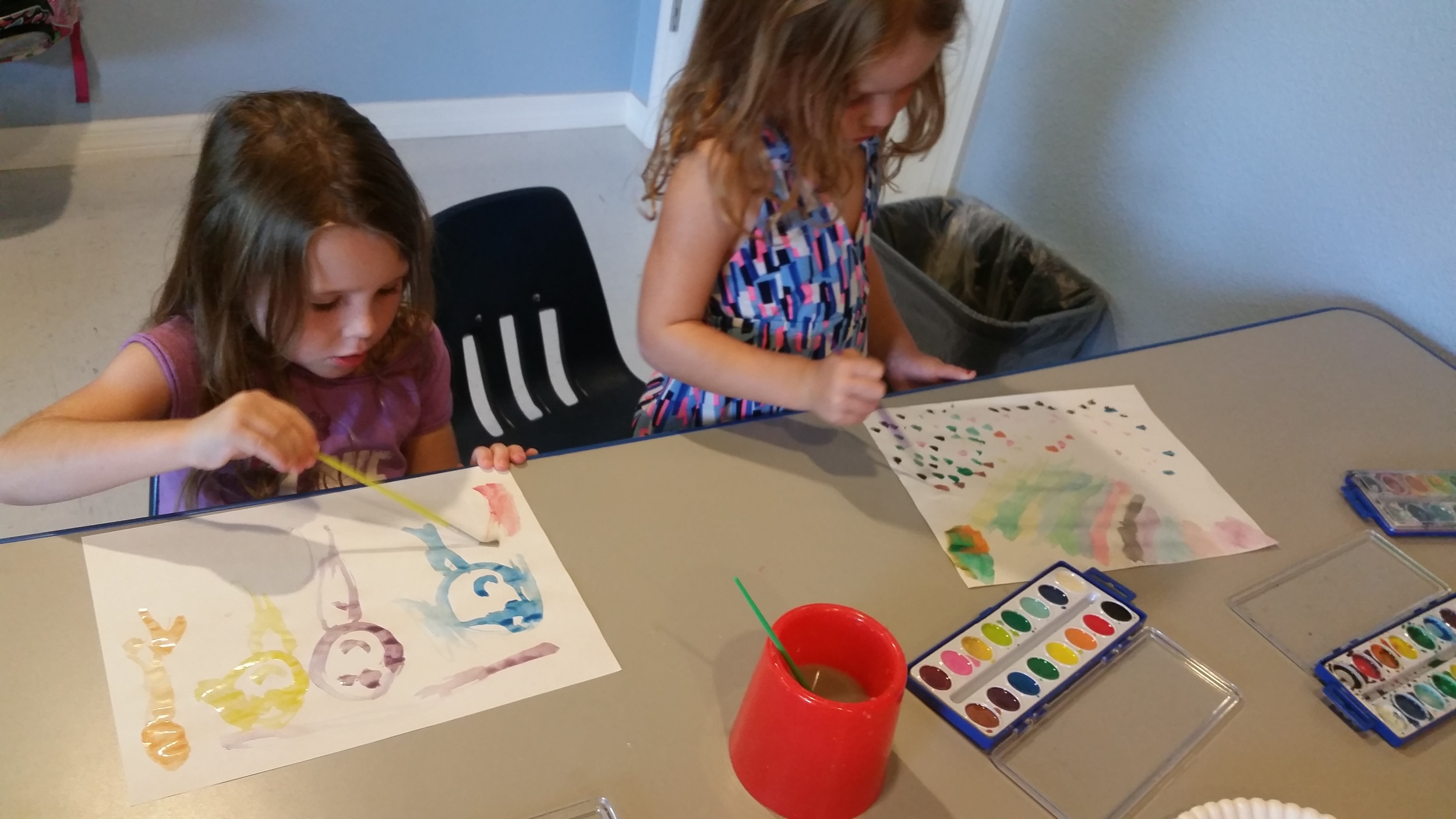 Our youngest campers really put a lot of thought into their watercolor work.