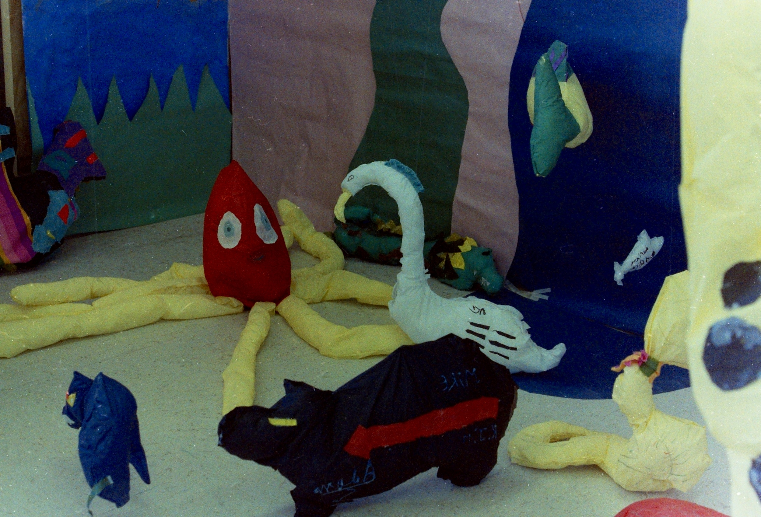 The Jungle project, made with Special Education students at Pojoaque elementary school. In a recording session, students made animal sounds to mimic the animal that they had created. The recorded sounds became a part of the final installation, the background was inspired by Matisse's cut-outs.