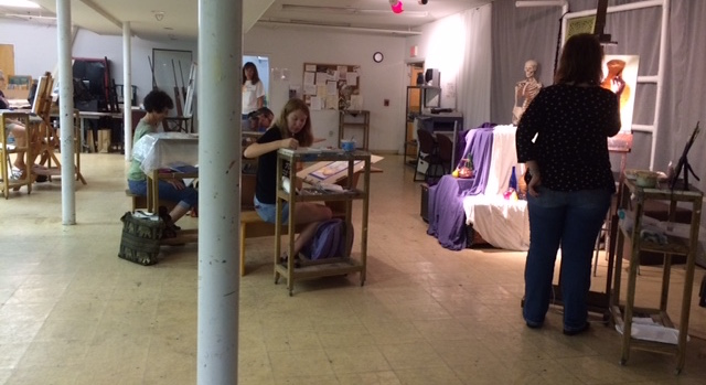 A scene from my Tuesday evening Beginning/Intermediate Painting Course at the  Morean A  rts Center.