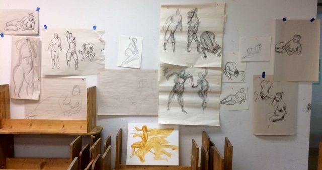 """Some of the life drawings my students did during the most recent Beginning/Intermediate Painting Course at the Morean Arts Center. Some of these were done by """"old hands,"""" others by complete novices who valiantly agreed to give drawing from life a try."""