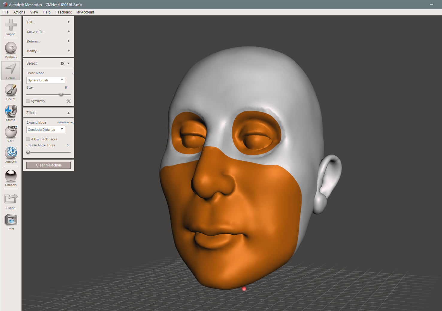 Selecting areas to be removed to make the Skull form