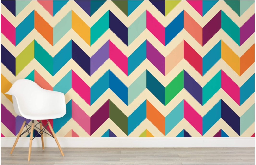 This geometric pattern from  MuralsWallpaper incorporates the two colors we have throughout the house- orange and purple- but also brings in other options. And since I am obsessed with super high gloss paint, updating the dark wood cabinet under the sink in one of the hues, with a mirror-like shiny finish, is definitely in the plans.