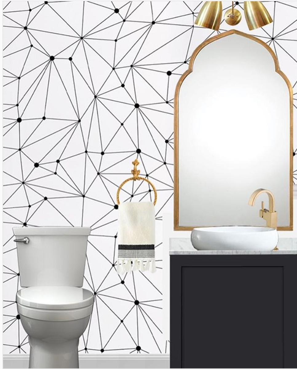 The other option is something like this- found on Cuckoo4Design's Instagram account and her amazing must-bookmark  design blog . I could go black and white- still geometric- and leave the color statement up to the high gloss cabinet and throw in a funky piece of art behind the toilet to be reflected in the mirror.