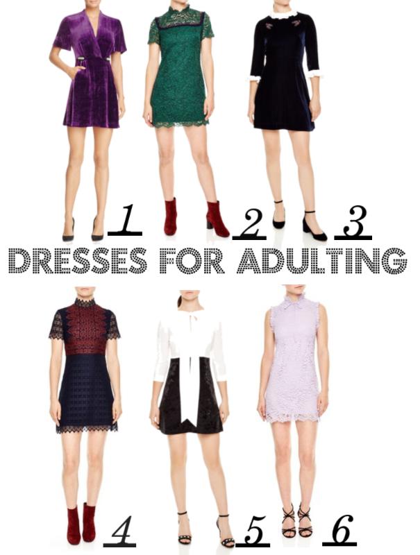 1:  Purple Velvet Wrap  / 2:  Emerald Lace  / 3:  Navy Velvet With Embellishments  / 4:  Navy & Burgundy A-Line  / 5:  Sash Tie Mini Dress  / 6:  Lavender Lace Shift