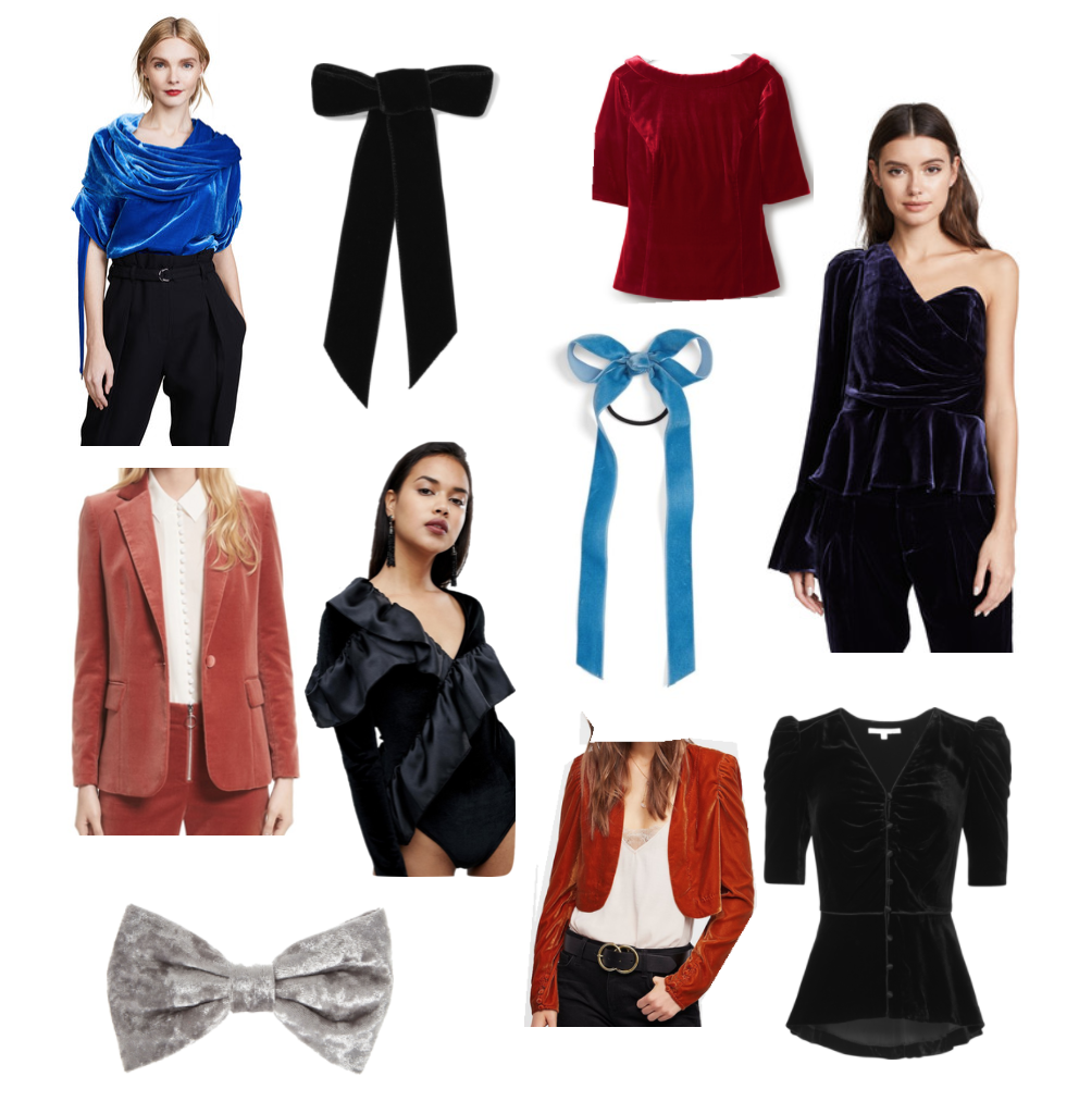 Clockwise from top left:  Blue Off Shoulder Top  /  Black Hair Bow  /  Velvet 3/4 Sleeve Top  /  Navy One Shoulder Top  /  Puff Sleeve Top  /  Blue Hair Bow  /  Auburn Bolero  /  Ruffle Bodysuit  /  Gray Bow Clip  /  Dusty Rose Slim Fit Blazer