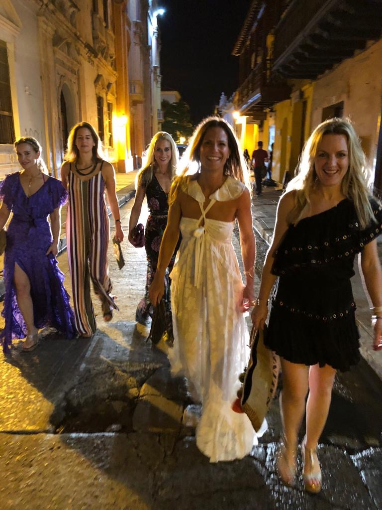 An action shot on the streets of the Old Town, heading to dinner. I am wearing my  favorite purple dress  and totally feeling the colorful Cartagena vibe.