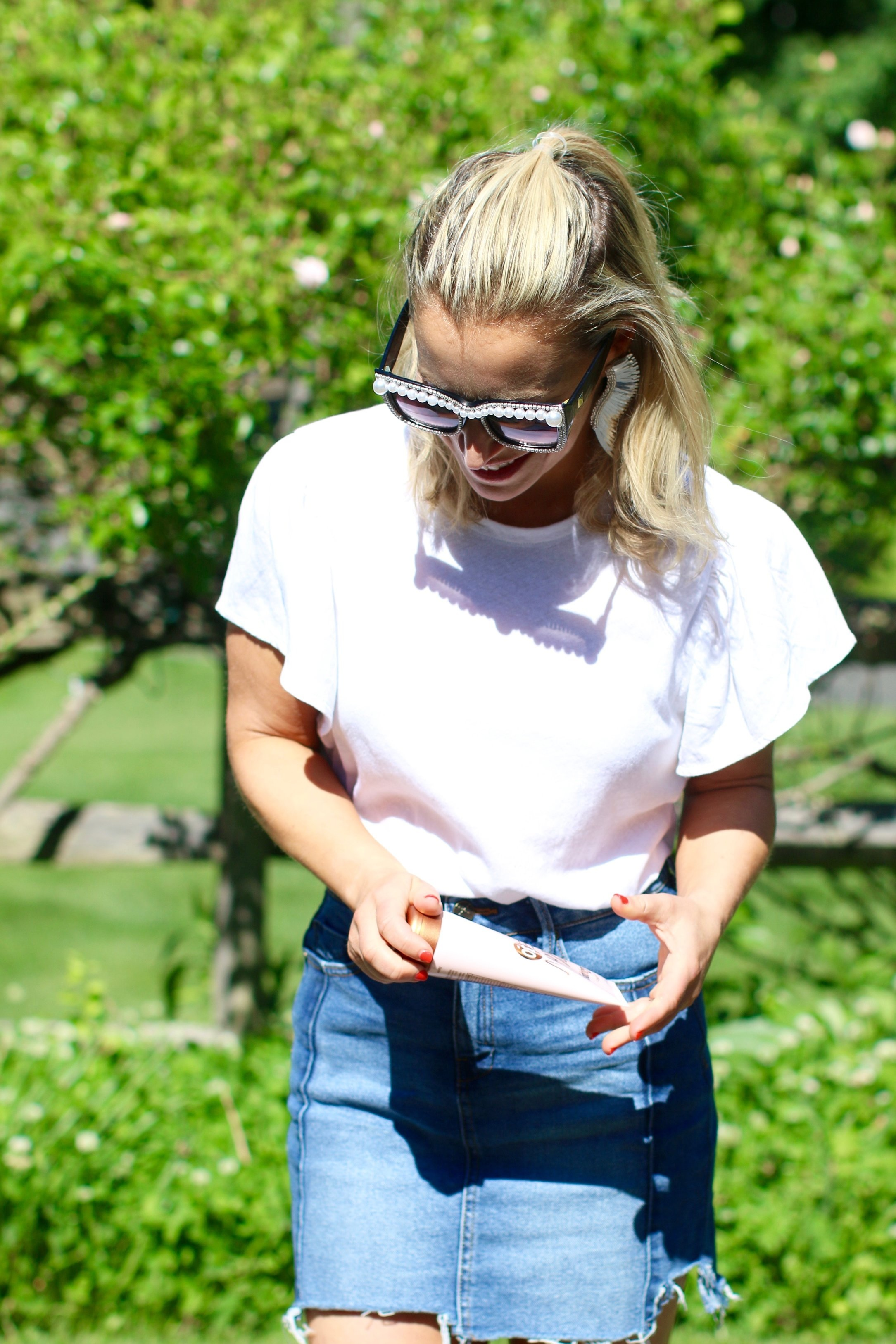 Wearing my #1 white t-shirt of the summer so far, from  Madewell .
