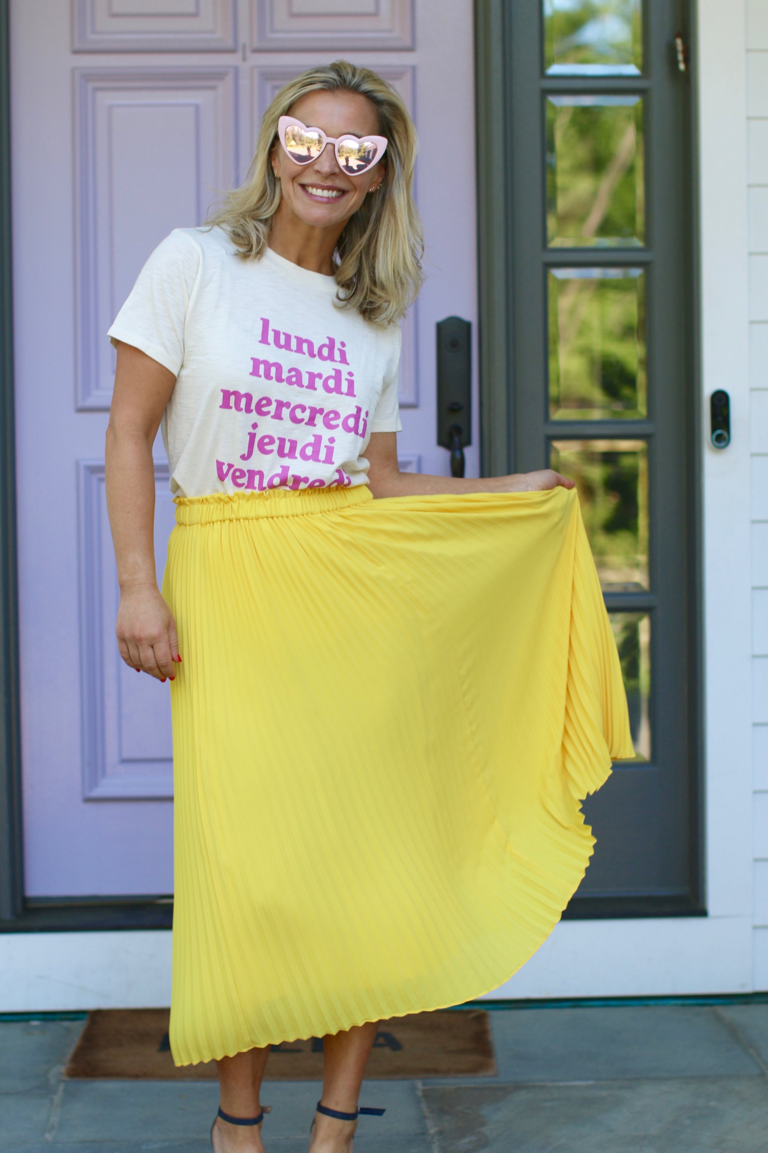 Obsessed with this bright midi skirt- procured  HERE . (Oh, and this t-shirt?  HERE .)