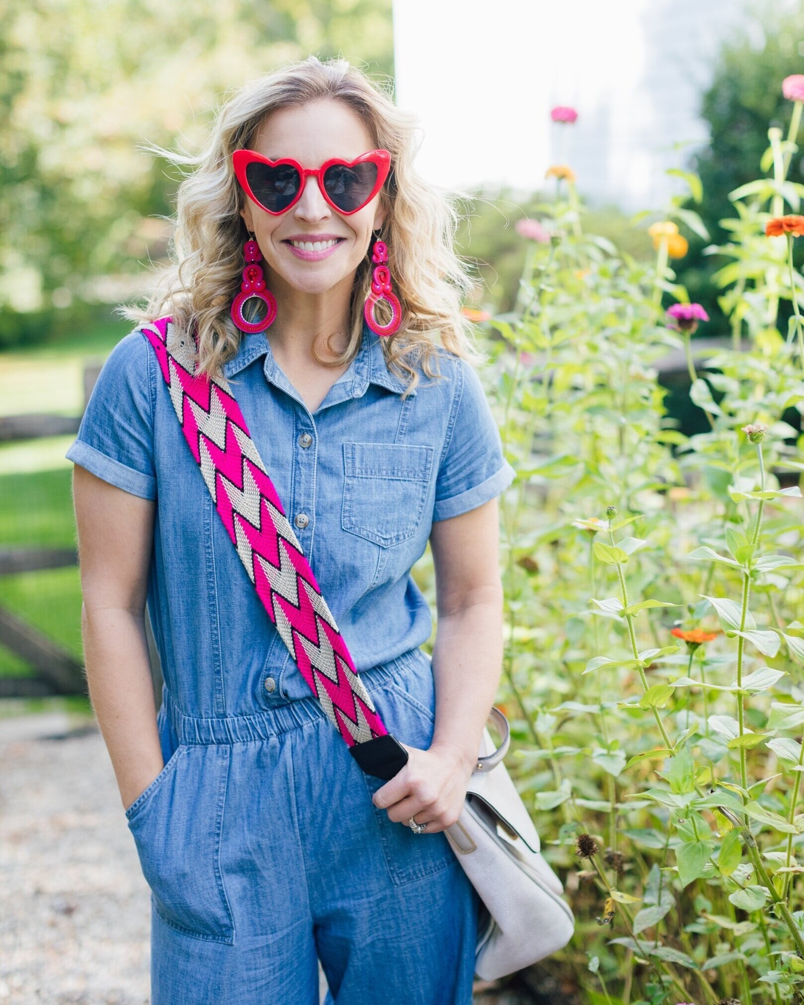 This  denim jumpsuit  BTW is from Abercrombie Kids- I am wearing a size 15/16 and it fits perfectly- plus, it is under $50 and super soft.  Photo Credit:  Julia Dags .