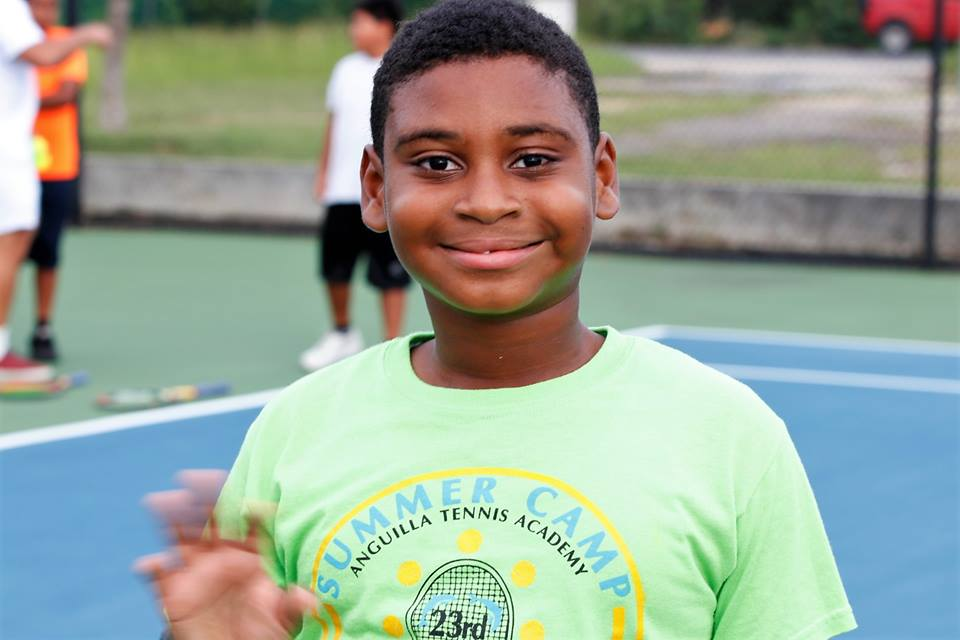 Young Tennis Fan at Anguilla Cup Youth Clinic