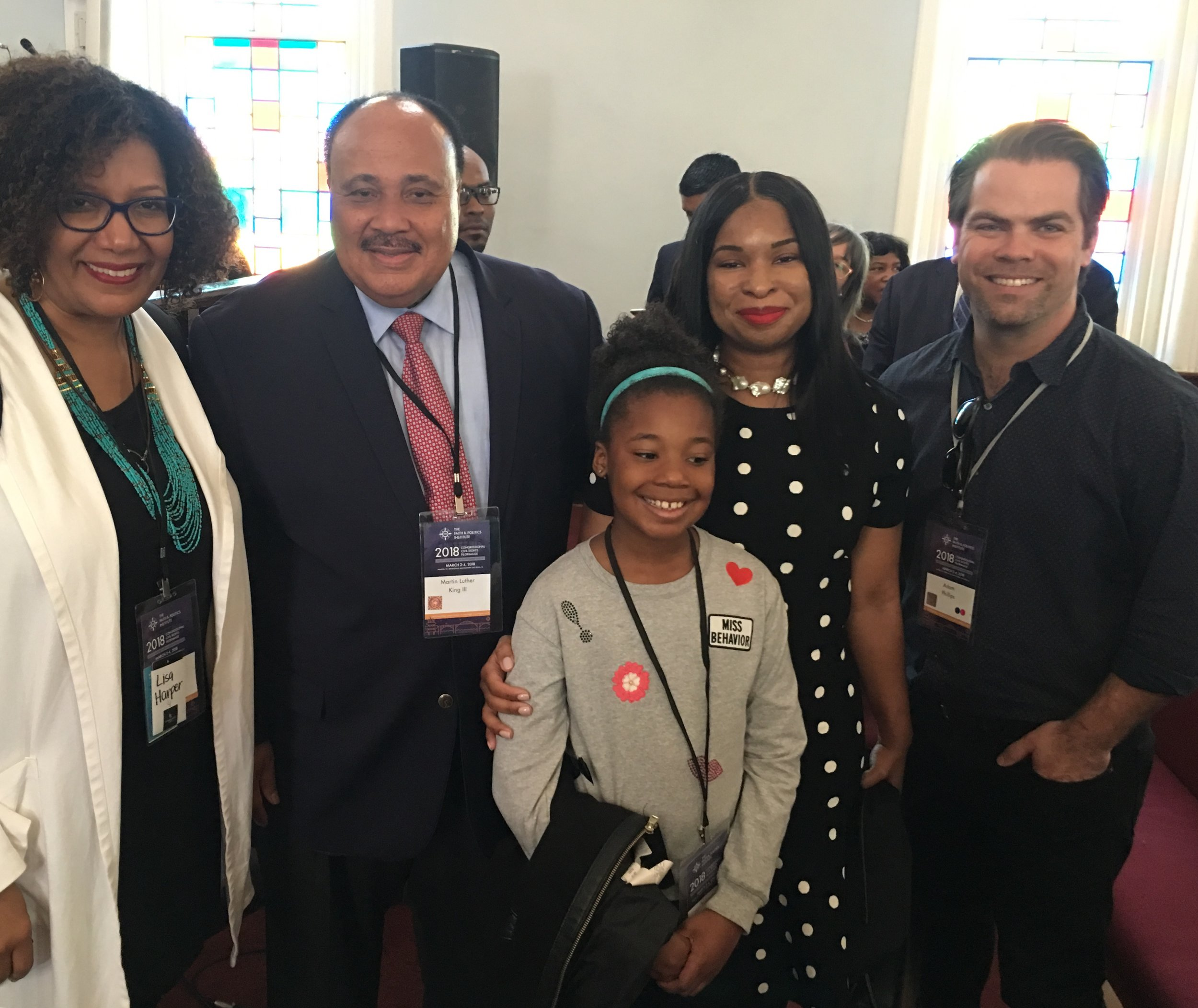 Lisa Sharon Harper and Adam Phillips with Martin Luther King III and his family
