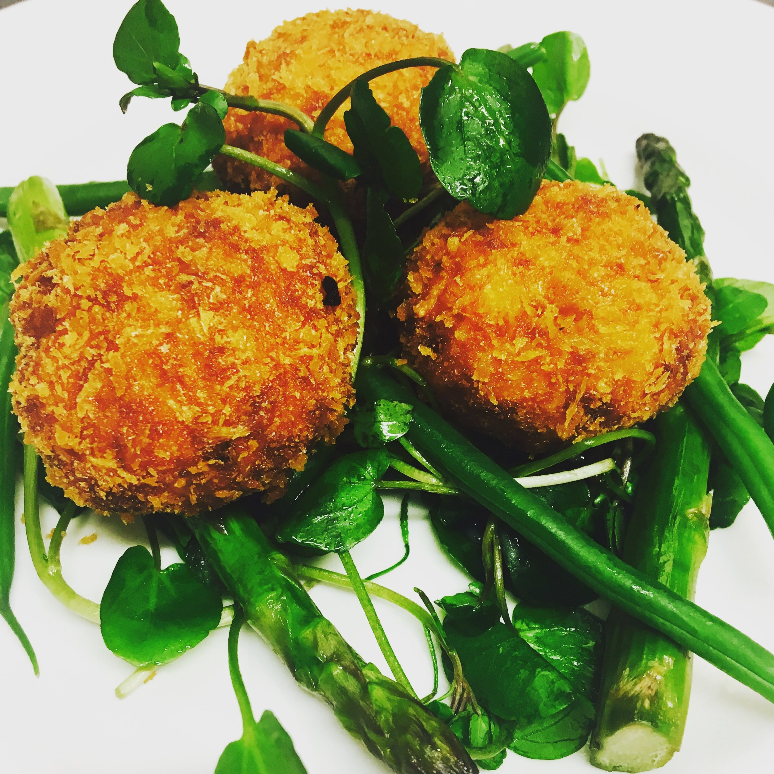 crab cakes with asparagus and watercress.JPG