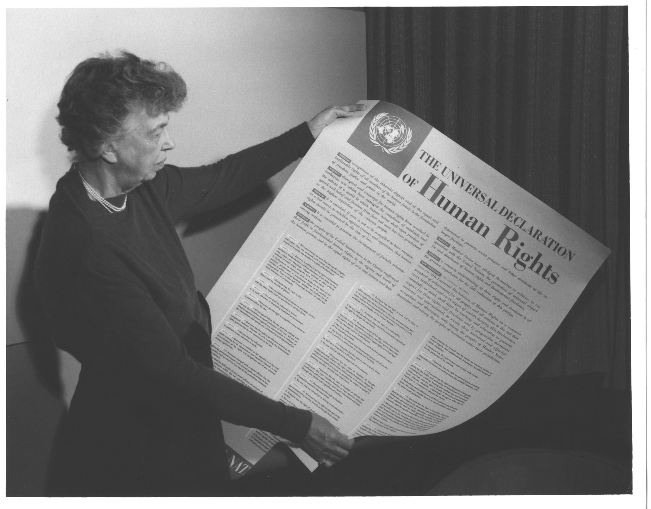 Mrs. Eleanor Roosevelt, (United States) holding a Declaration of Human Rights © UN Photo