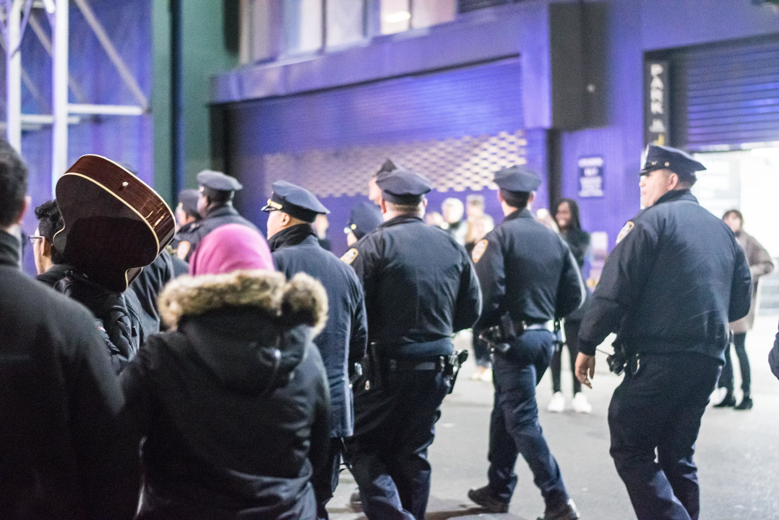 2016-NYC-New-York-Trump-Protest-March-Police-Crowd-Control-NYPD-Officers-Law-Enforcement-Guitar