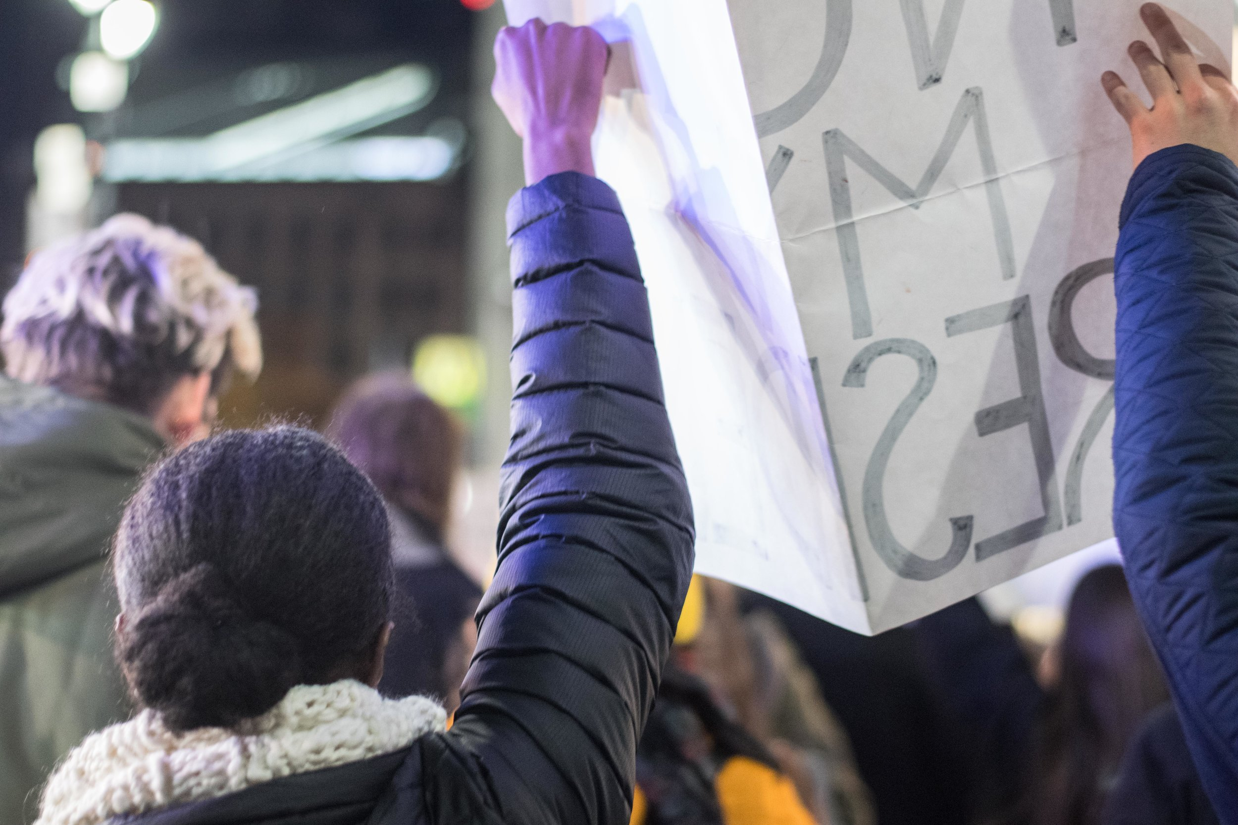 2016-NYC-New-York-Trump-Protest-March-Hand-Arm-Holding-Up-Sign-African-American-Woman