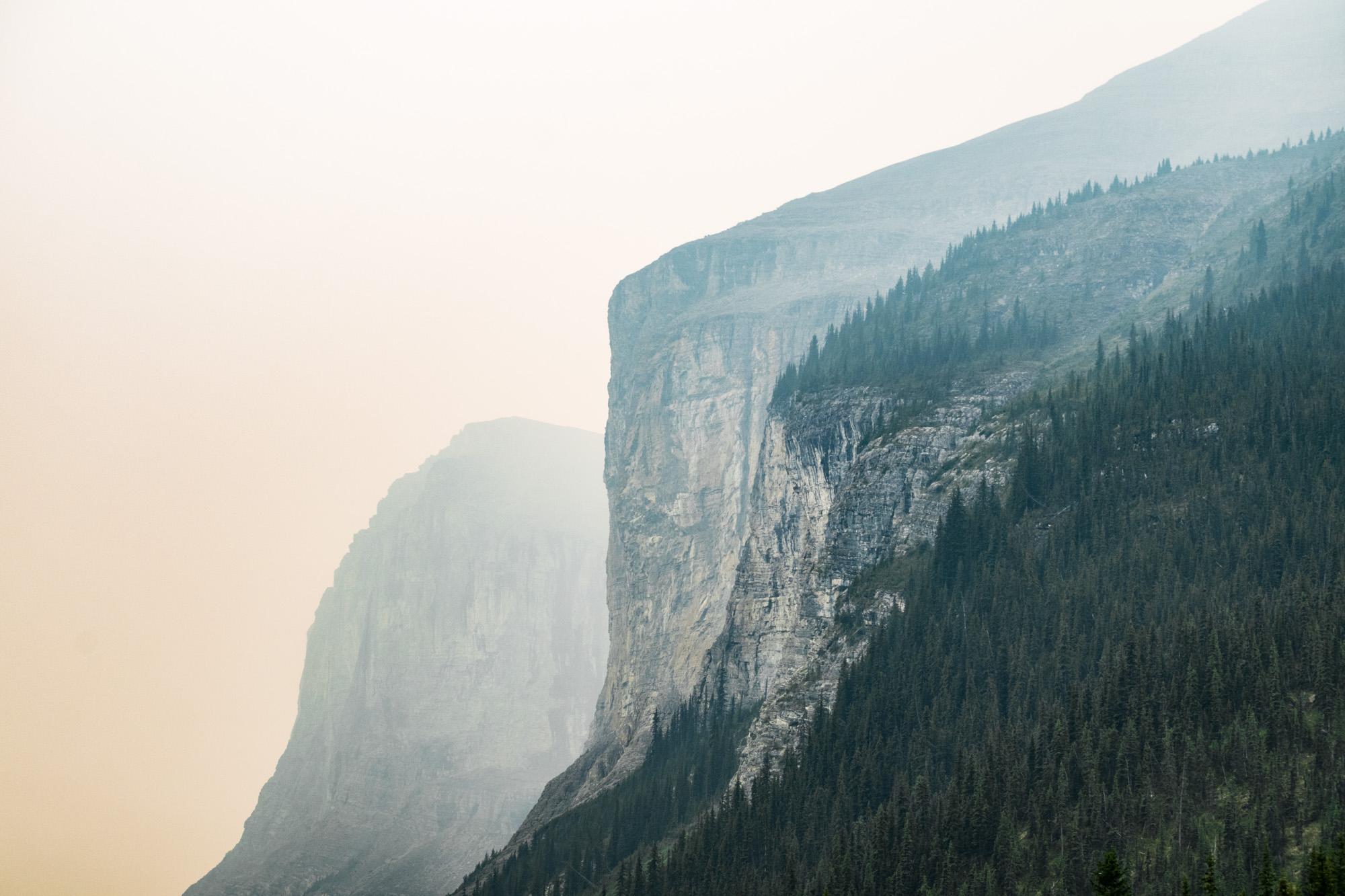 Cliffs above Maligne Lake, Jasper National Park.