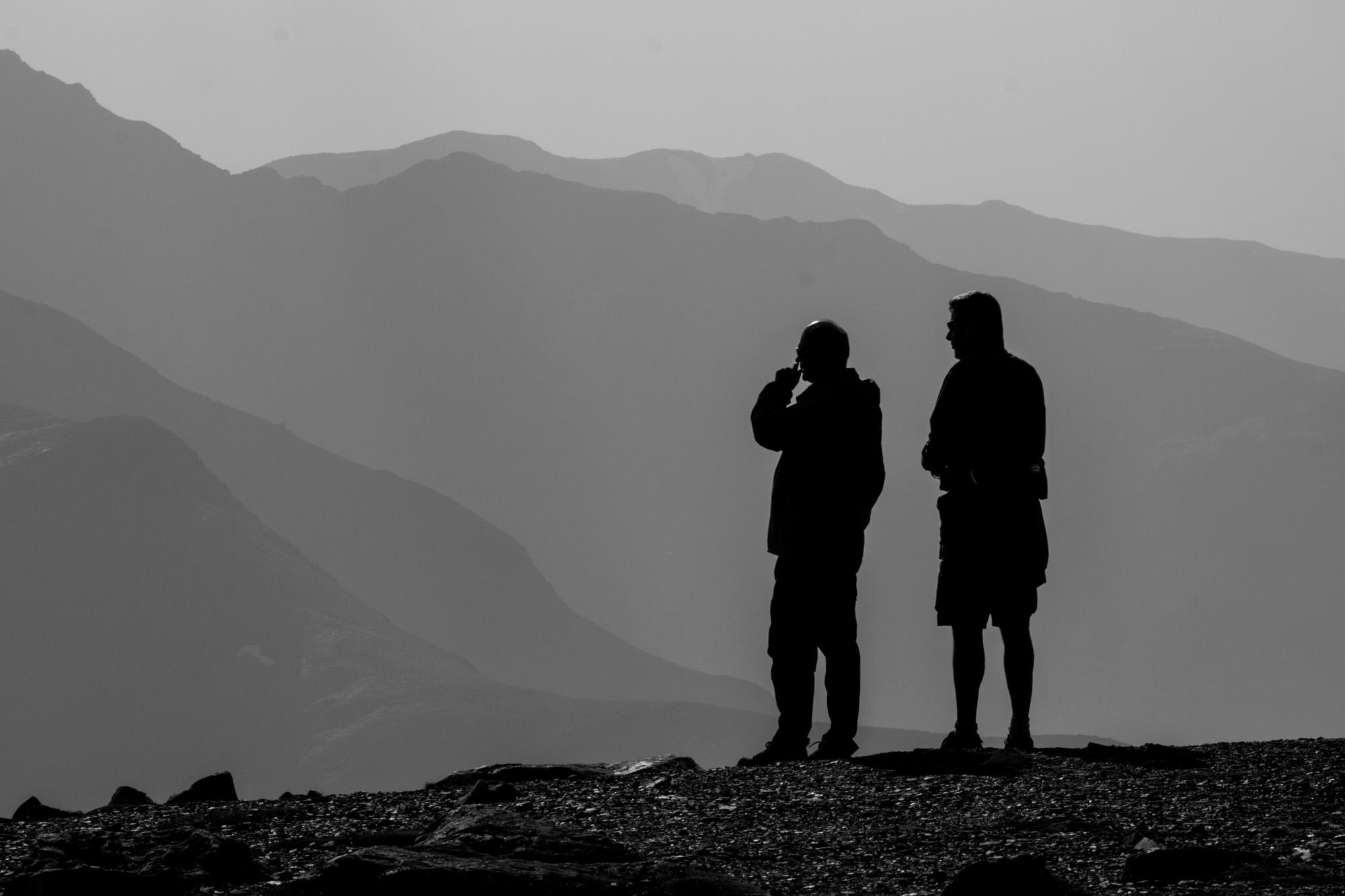 Hikers on the summit of Whistlers peak, Jasper National Park.