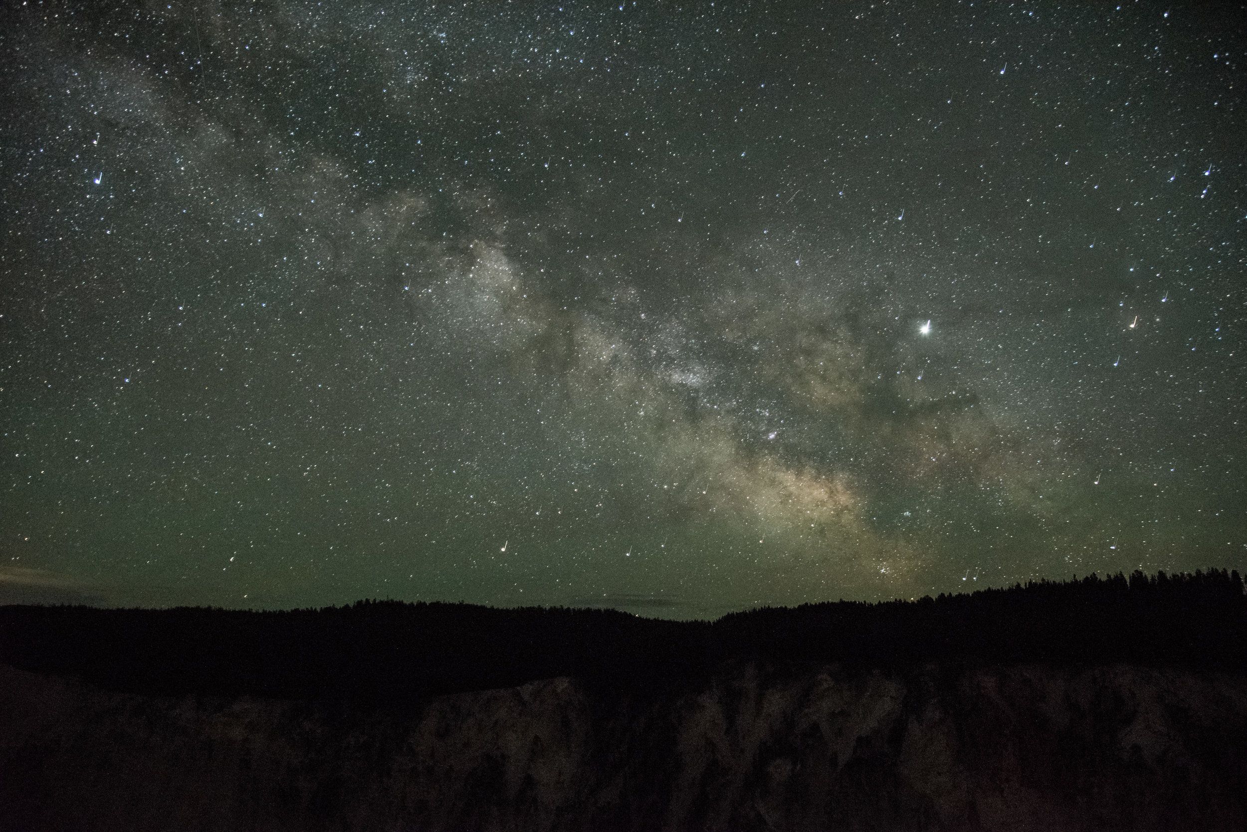 The Milky Way over the Grand Canyon of Yellowstone