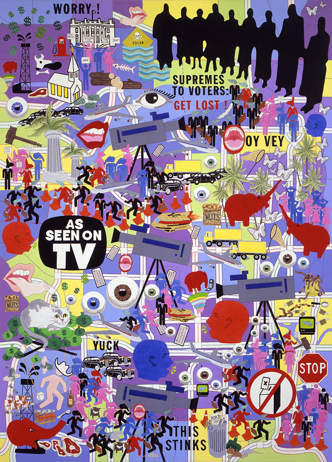 """Land of the Stupid 2001 • Acrylic on canvas • 84"""" x 60  (2000 Presidential election)"""