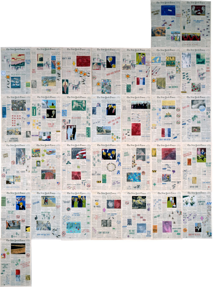 """Front Pages: March 1996  • 1996 • 31 pages of  The New York Times •Ink and pastel on paper • 21.5"""" x 13.5 each, 129"""" x 94.5 overall"""