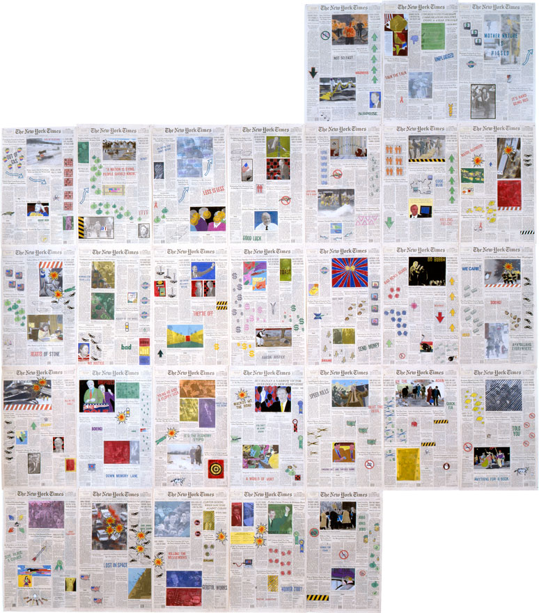 """Front Pages: February 1996  • 1996 • 29 pages of  The New York Times •Ink and pastel on paper • 21.5"""" x 13.5 each, 129"""" x 94.5 overall"""