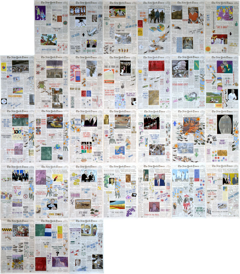 """Front Pages: April 1996  • 1996 • 30 pages of  The New York Times •Ink and pastel on paper • 21.5"""" x 13.5 each, 129"""" x 94.5 overall"""