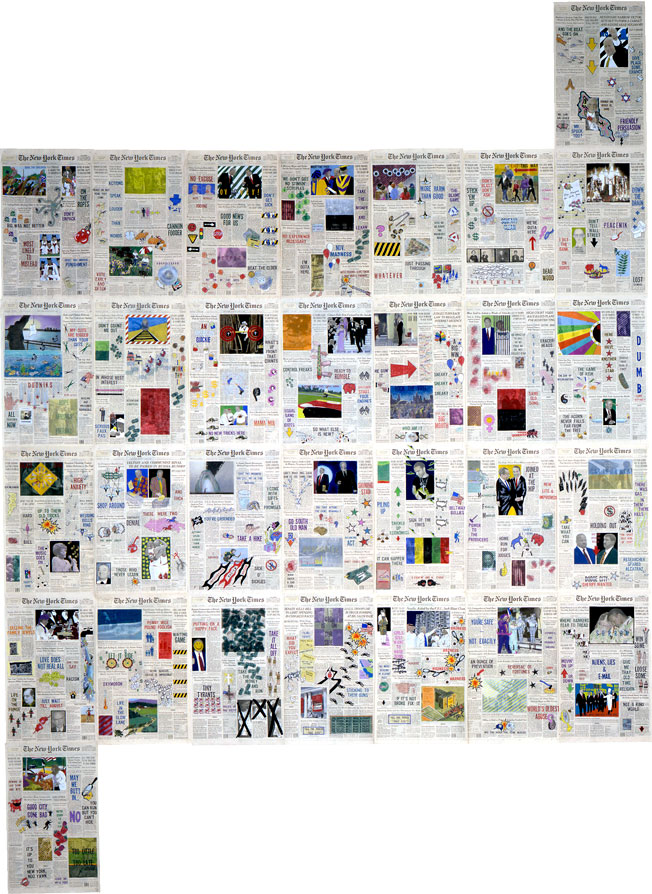 """Front Pages: June 1996  • 1996 • 30 pages of  The New York Times •Ink and pastel on paper • 21.5"""" x 13.5 each, 129"""" x 94.5 overall"""