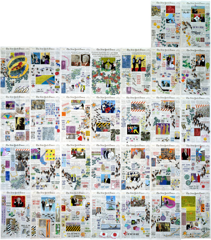 """Front Pages: November 1996  • 1996 • 30 pages of  The New York Times •Ink and pastel on paper • 21.5"""" x 13.5 each, 129"""" x 94.5 overall"""