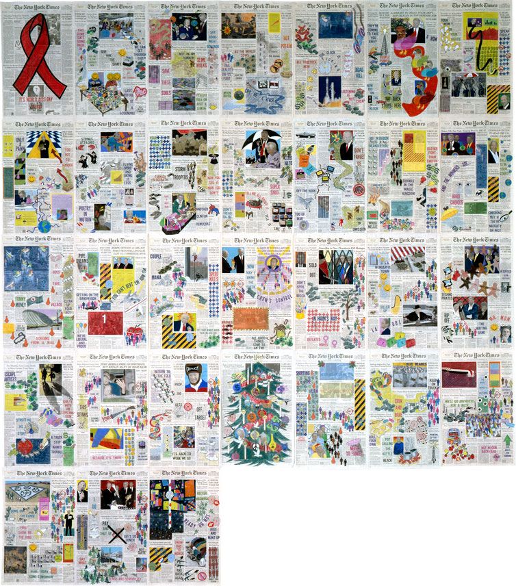 "Front Pages: December 1996  • 1996 • 31 pages of  The New York Times  • Ink and pastel on paper • 21.5"" x 13.5 each, 129"" x 94.5 overall"
