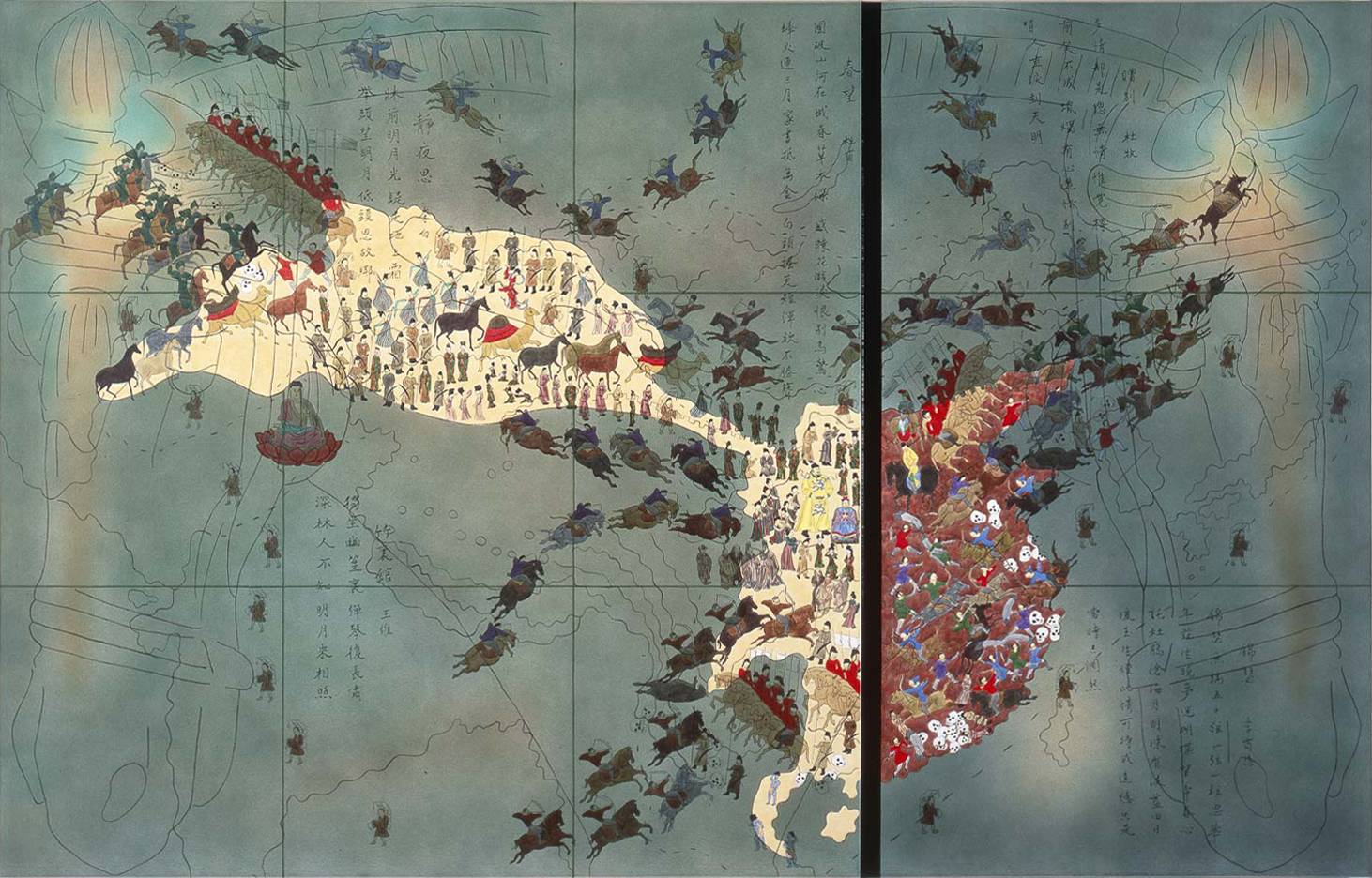 "China IV: Sui Dynasty, 581-618 A.D.  1990 • Oil and acrylic inks on two canvas • 84"" x 134"