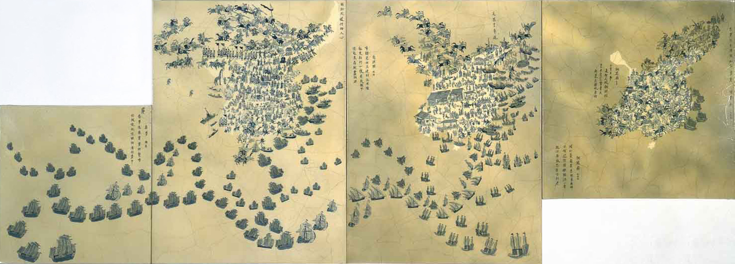 "China VII: Ming Dynasty, 1368-1644 A.D.   1996 • Oil, varnish and acrylic inks on four canvas • 40"" x 72"