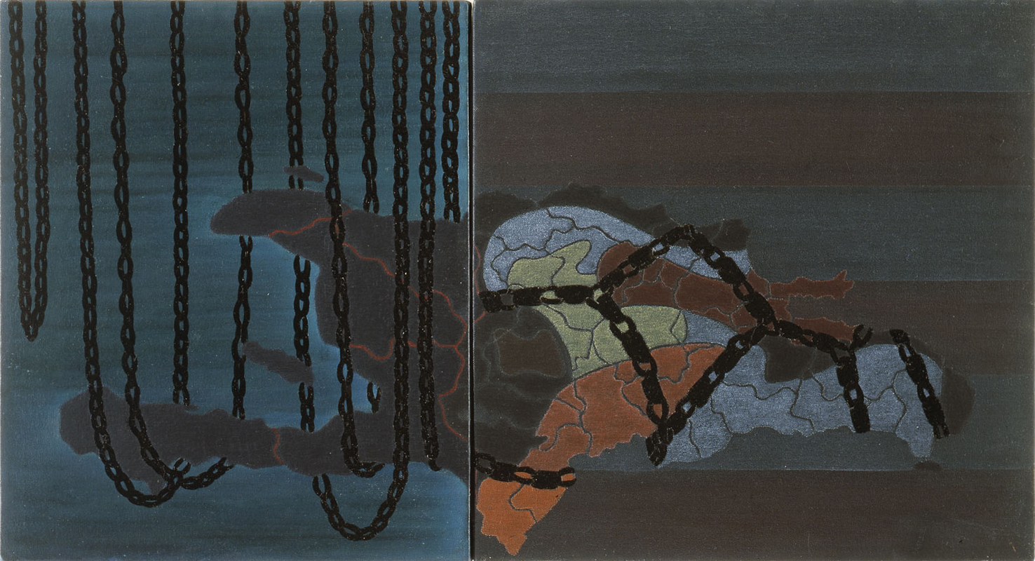 """Haiti / Dominican Republic: Terror in Paradise  1987 • Oil and wax on two canvases, 72"""" x 132"""