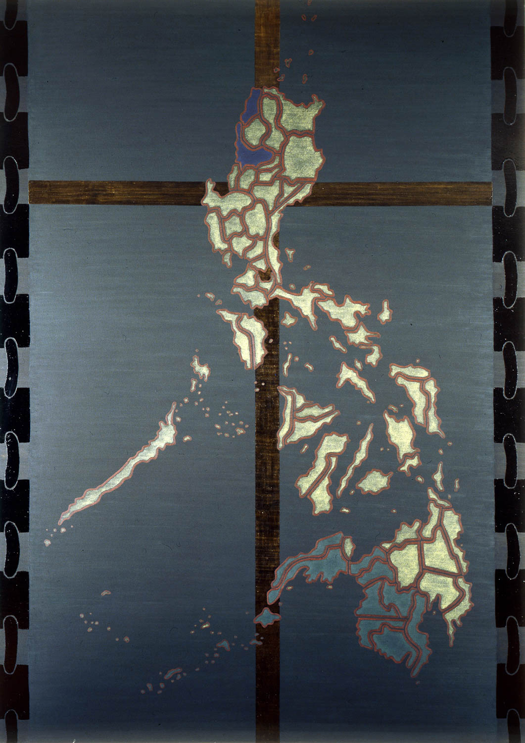 """The Philippines: Guns, Goons, and Gold  1988 • Oil and wax on canvas, 102"""" x 72"""
