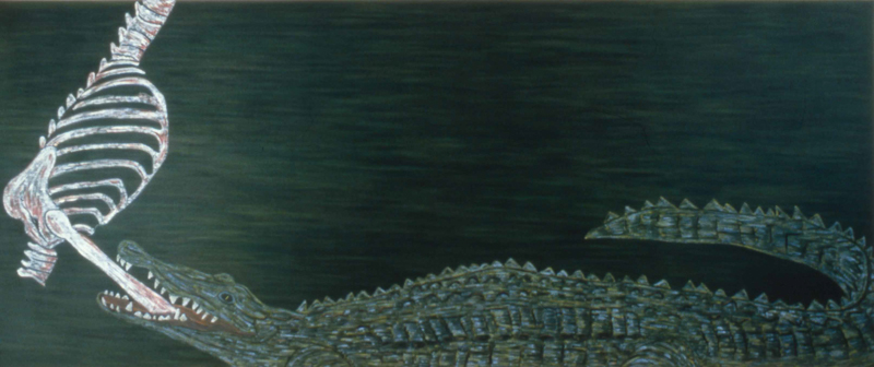 "Crocodile  1982 • Oil on canvas, 67"" x 162"
