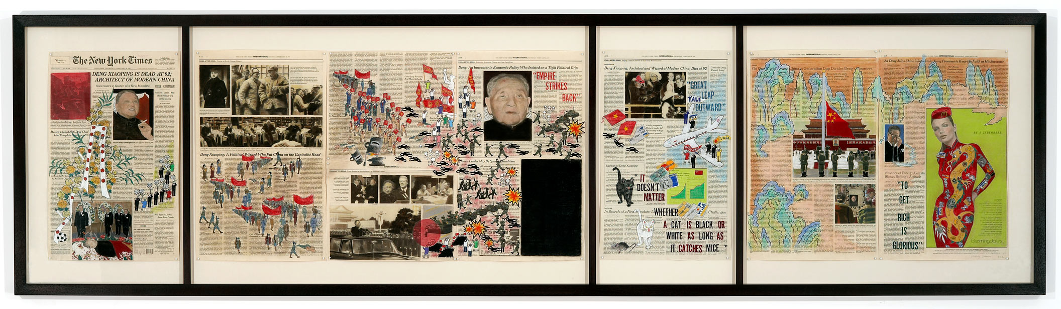 "Deng Xiaoping Scroll  1998 • ink and pastel on newspaper • 22"" x 96.25"
