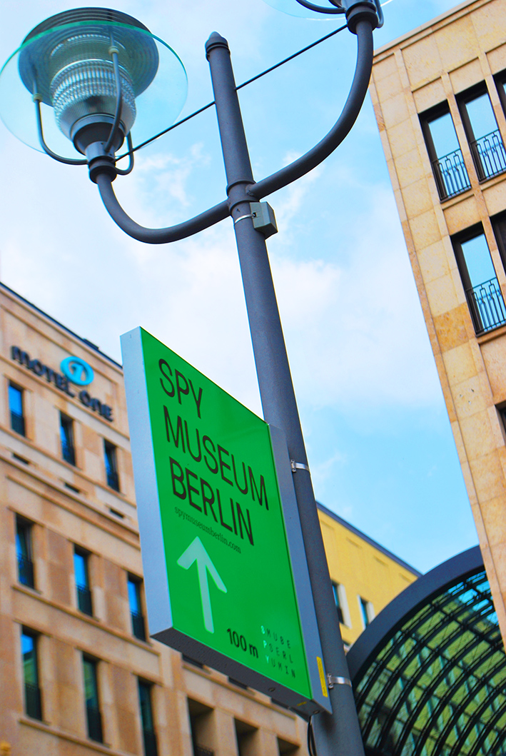 Berlin Spy Museum Lampost Sign