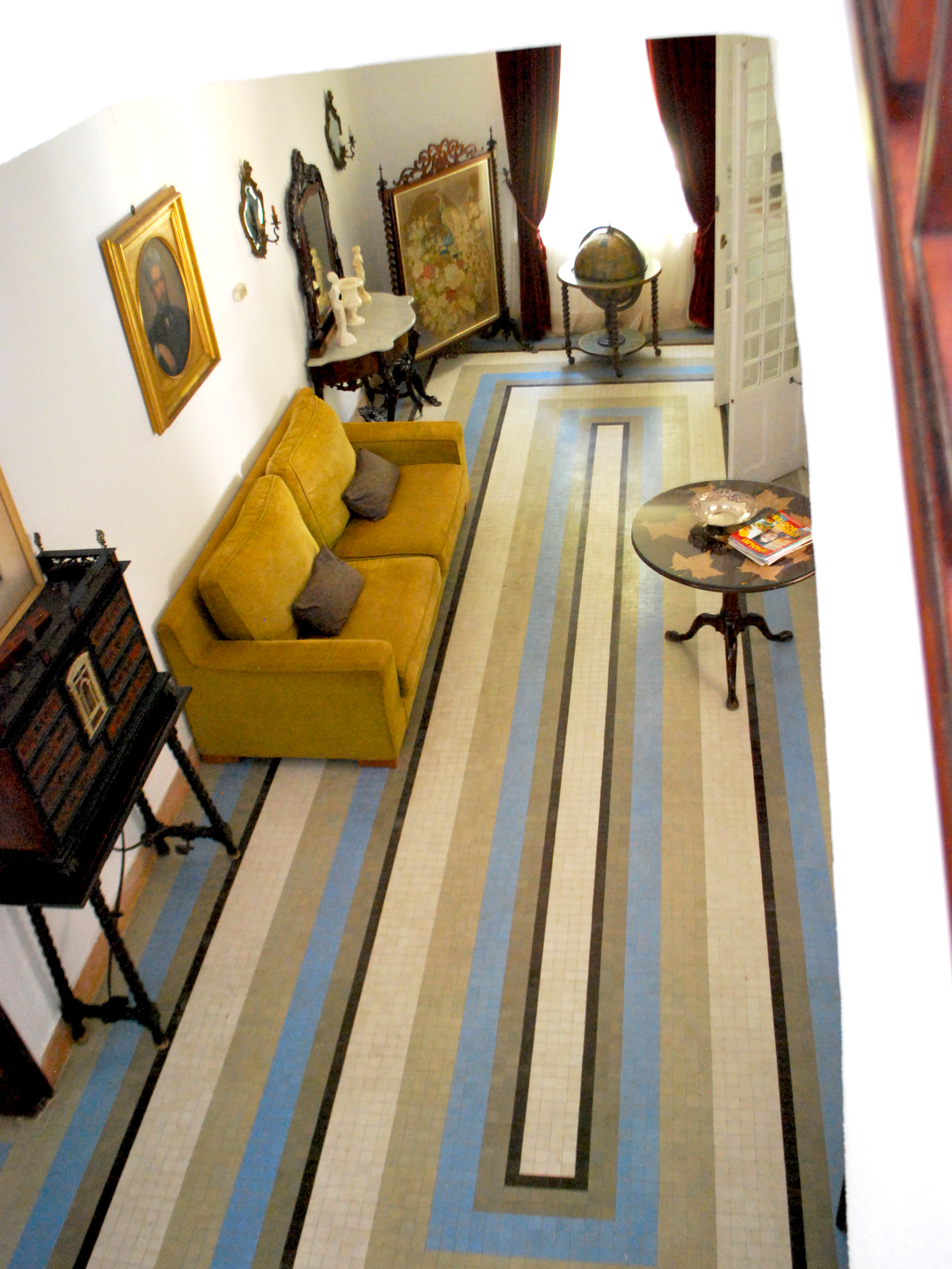 The lobby has this striking rectangular design in blue and browns.
