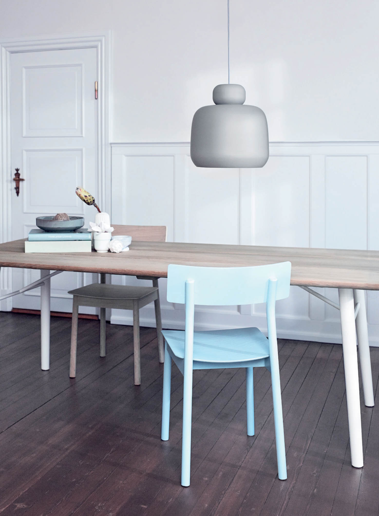 Stone Pendant, Split Dining Table and Pause Dining Chair by Woud.