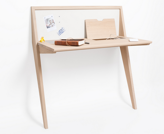 Drugeot Labo Compass Desk Leans against the wall, and is ideal for small city spaces.