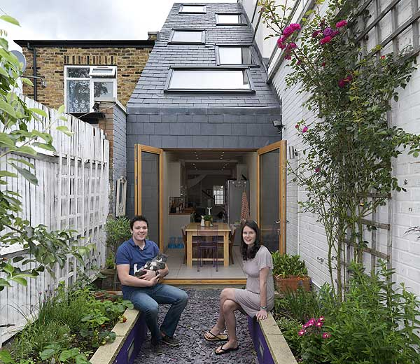 An example of what we were on the hunt for - Tom and Sarah Tidbury's London house was built in the gap between two semis - it is just a smidgen over 90in wide!  Read more here.