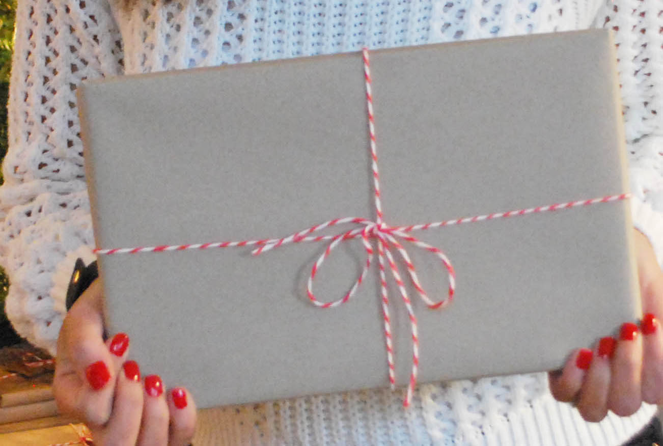 Brown paper wrapping with red string