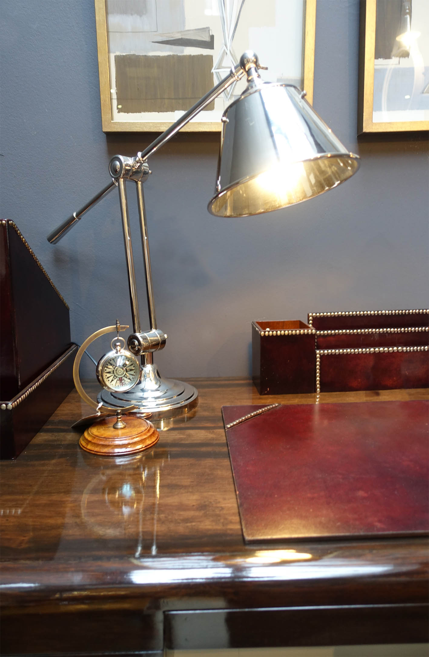 Brass, leather, wood and chrome sit perfectly together in Mufti's in-store room sets.