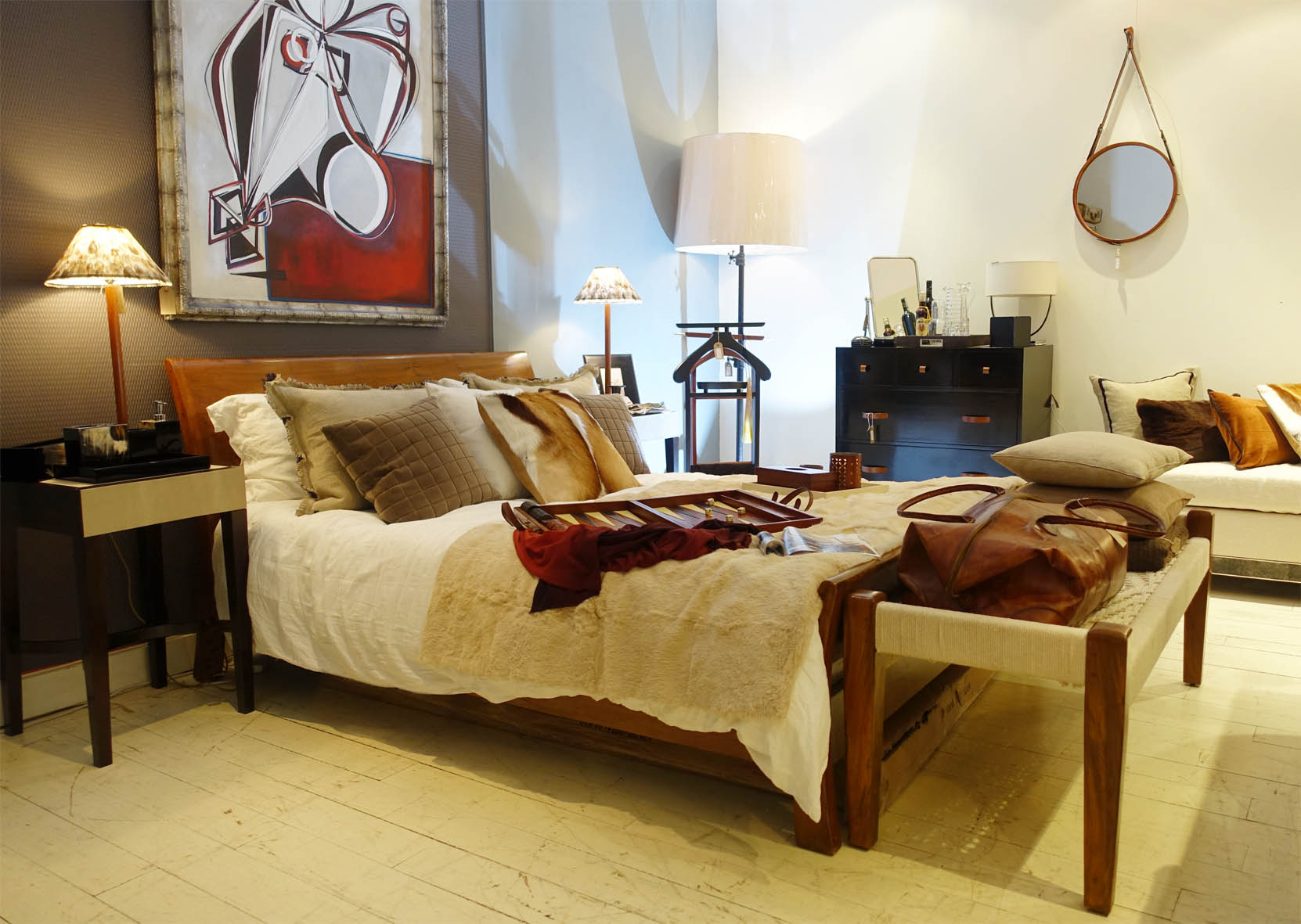 This gorgeous bedroom set would not be out of place in a top hotel. I particularly love Mufti's stunning collection of leather-bound chests of drawers.